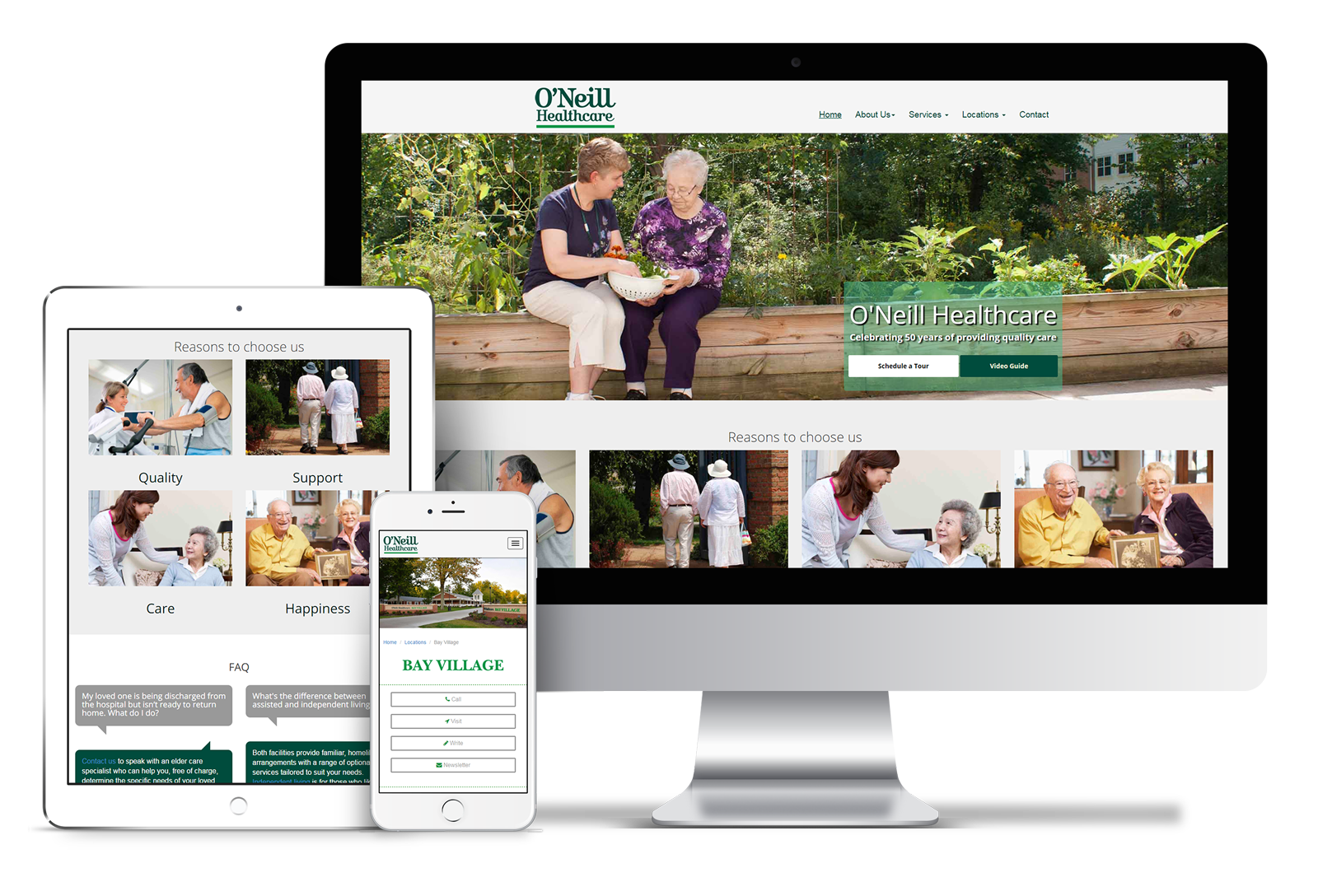 O'Neill Healthcare website mockup