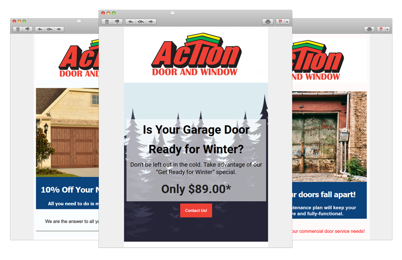 action door and window email campaigns