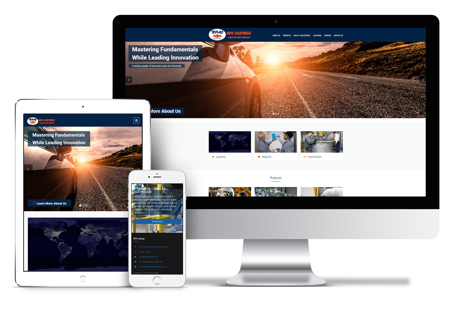 NPA Coatings website mockup